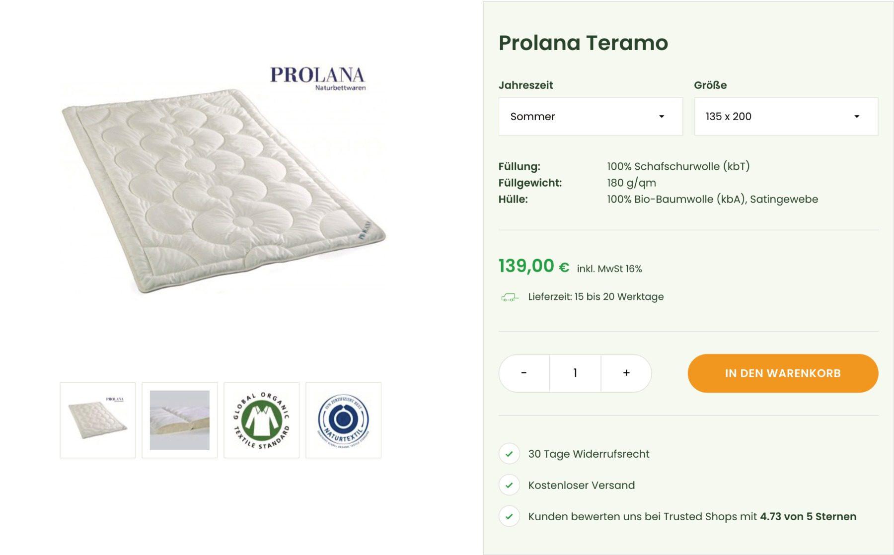 Schlafprodukte auswählen
